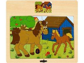 366502 woody drevo puzzle na desce zviratka domaci s mladatky 6 druhu
