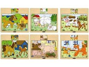 248114 woody drevo puzzle na desce zviratka domaci s mladatky 6 druhu
