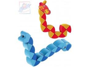 WOODY DŘEVO Skládací zvířátko skládačka had 3 druhy *DŘEVĚNÉ HRAČKY*