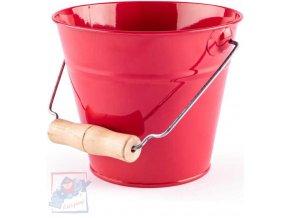 WOODY Kyblík dětský zahradní červený kov 15cm dřevěná rukojeť