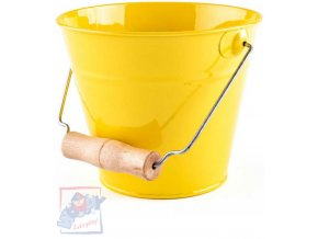 WOODY Kyblík dětský zahradní žlutý kov 15cm dřevěná rukojeť