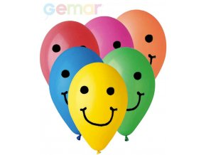 GEMAR Balónek nafukovací 26cm Pastelový potisk SMILE různé barvy 1ks