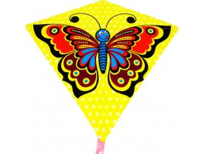 Drak žlutý létající motýl 68x73cm plastový v sáčku