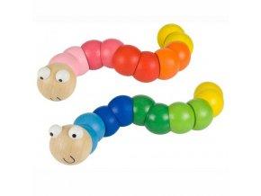 Bigjigs Toys dřevěné hračky - Barevný červík modrá