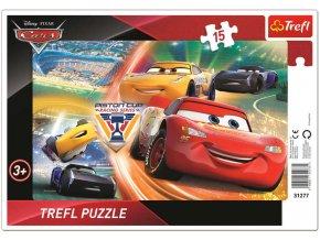 TREFL PUZZLE Deskové Cars 3 (Auta) Boj o vítězství skládačka 26x13cm 15 dílků
