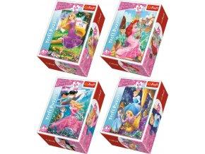 290879 trefl puzzle princezny dobrodruzny svet princezen mini 13x20cm 54 dilku 4 druhy