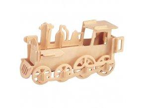 Woodcraft Dřevěné 3D puzzle malá lokomotiva