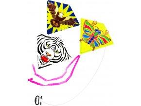 Drak létající potisk zvířátka 64x76cm 3 druhy plast