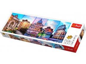 TREFL PUZZLE Panoramatické foto Itálie koláž skládačka 66x23,5cm 500 dílků