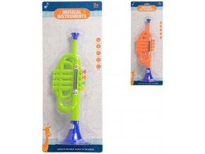 Trumpetka dětská barevná 35cm plast 2 barvy *HUDEBNÍ NÁSTROJE*