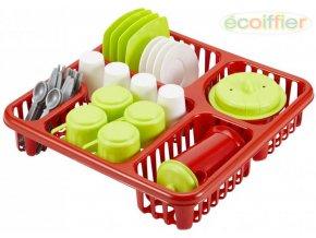 ECOIFFIER Kuchyňský set dětské plastové nádobí + odkapávač 29x29cm
