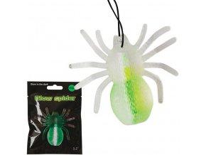 Pavouk neonový svítící tyčinka zelený přívěsek 8cm v sáčku
