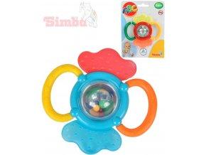 SIMBA Chrastítko a kousátko 2 v 1 na kartě 12 cm Baby 2 barvy