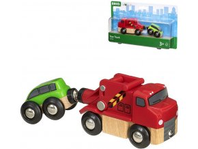 BINO DŘEVO Odtahová služba herní set kamion + osobní vozidlo 33528