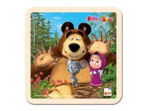 Bino Máša a Medvěd - Puzzle s myškou15x15cm