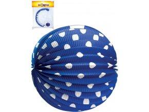 Lampion papírový modrý kulatý 25cm bílý puntík v sáčku
