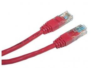 Patch kabel UTP cat 5e, 0,5m - červený