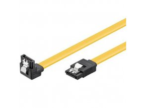 Kabel k HDD PremiumCord 0,7m SATA 3.0 datový kabel 1.5GBs / 3GBs / 6GBs, kov.západka, 90°