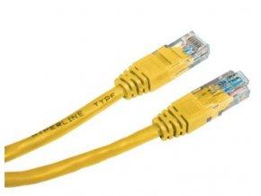 Patch kabel UTP cat 5e, 0,5m - žlutý