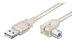 Kabel USB 2.0 A-B 0,5m, zalomený konektor B, transparentní