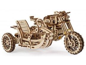 Ugears 3D dřevěné mechanické puzzle UGR-10 Motorka (scrambler) s vozíkem