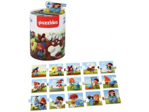 PUZZLIKA Baby dějové puzzle skládačka Výroba džínů velké dílky set 15ks