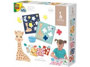 SES CREATIVE Baby Žirafa Sofie lepení tvarů set s prstovým lepidlem