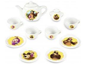 SMOBY Set kávový Máša a medvěd dětský porcelánový servis 12ks v krabici