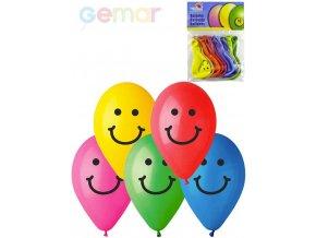 GEMAR Balónky nafukovací 26cm Pastelové barevné potisk SMILE set 10ks