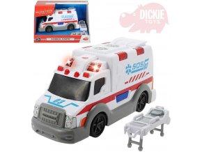 DICKIE Auto ambulance 15cm sanitka bílá na baterie Světlo Zvuk