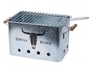 Gril přenosný piknikový GRILL KING stříbrná