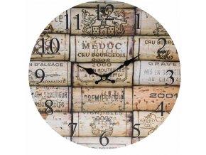 Hodiny nástěnné dřevěné 33 cm BISTRO špunty