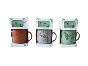 Hrnek s balením čaje BOTANICAL šedá