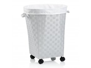 Koš na prádlo na kolečkách PORTO bílá
