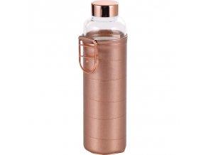 Lahev skleněná přenosná s termoobalem 600 ml rosegold