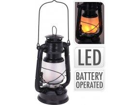 Lucerna s LED žárovkou kov 24 cm černá