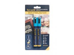 Křídový popisovač Securit SMA510 šířka hrotu 2-6mm, Blue, 2ks, blistr