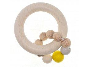 Hess Chrastítko kulaté přírodní s kuličkovým kroužkem - žluté