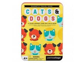 Petit Collage Magnetická hra Kočky a psi poškozená kovová krabička