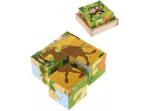 WOODY DŘEVO Kubus Safari obrázkové dětské kostky 4ks *DŘEVĚNÉ HRAČKY*