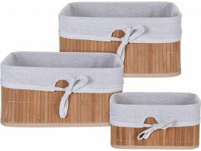 Sada košíků bambus / textil 3 ks přírodní