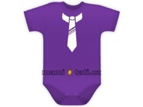 Baby Dejna Body kr. rukávek s potiskem kravaty - fialové