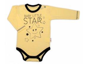 Baby Nellys Body dlouhý rukáv, žluté, Baby Little Star