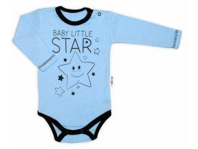 Baby Nellys Body dlouhý rukáv, modré, Baby Little Star