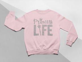 KIDSBEE Moderní dětská dívčí mikina Princess Life - růžová