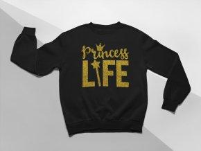 KIDSBEE Moderní dětská dívčí mikina Princess Life - černá