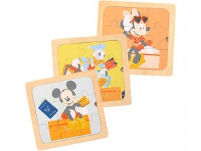 Dřevěné Disney puzzle 3v1 - Mickey a přátelé, 22 x 22 cm.