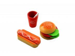 Lelin Dřevěná hračka - Fast food sada