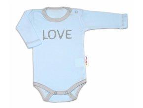 Baby Nellys Body dlouhý rukáv Love - modré, vel. 56