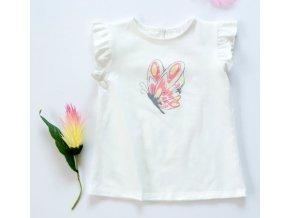 K-Baby Dětské bavlněné triko, krátký rukáv - Motýl - smetanové, vel. 86